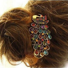 Neu Pfau Spange Klammer Haarschmuck Haarspange Haarklammer Kristall Strass Haar