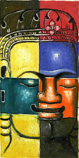 Original Oil Painting from Phnom Penh Cambodia – Buddha Face Image          5123