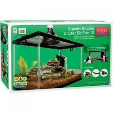 Reptile Habitat Setup Aquarium Tank Kit Filter Screen Lid Bask Lamp Turtle Frog