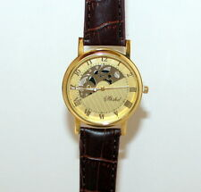 Gold on Brown Luxury Skeleton Stainless Steel Wrist Watch 02BNG