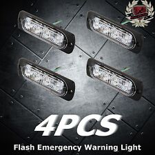 4pcs 2W Super Bright Amber 4-LED Flash Emergency Hazard Warning Strobe Light Bar