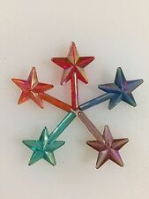 VINTAGE CLASSIC SMALL IRIDESCENT STAR TOPPERS SET Ceramic Christmas Tree Lights