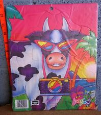 LISA FRANK dayglo cow w/ sunglasses frame puzzle 1993 toddler colorful