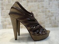 7 FOR ALL MANKIND Brown Lizard Caged Leather Strappy Platform Heels US-8.5M