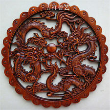 ART ! CHINESE HAND CARVED TWO DRAGON STATUE CAMPHOR WOOD PLATE WALL SCULPTURE