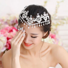 Wedding Bridal Forehead Crown Headband Silver Rhinestone Pearl Hair Accessories