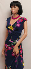 RALPH LAUREN Navy with Multi Color Flower Stretch Sleeveless Dress 10 NWT