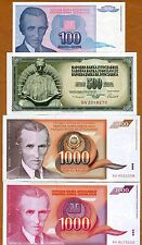SET Yugoslavia, 4 Nicola Tesla Notes 100;500;1000;1000 Dinara 1986-1994 UNC