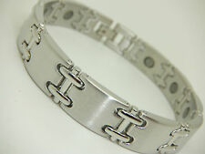 Mens Silver Colour Twin Link Magnetic Bracelet In Gift Pouch Arthritis Aid Pain