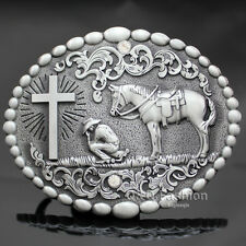 Retro Silver Western Cowboy Prayer Cross Horse Oval Concho Scroll Belt Buckle
