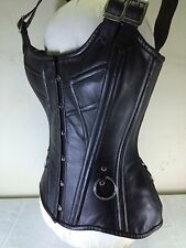 Full Bust Shaper Bustier Corset with Cowhide Black Quality Leather zean Lininig