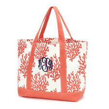 Coral Print Canvas Tote Beach Bag by Wholesale Boutique