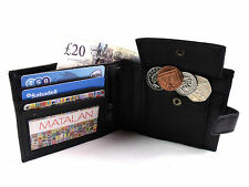 MENS HIGH QUALITY BLACK REAL LEATHER CREDIT CARD HOLDER WALLET COIN MONEY POUCH