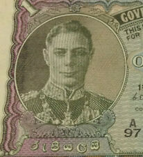 MY KGVI Collection Ceylon ONE Rupee Banknote 1949 Extra very nice details!