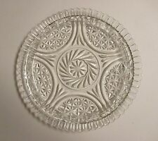 Vintage Clear Glass Serving Platter Pinwheel and Star 12""