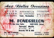 """SAINT-OUEN (93) PUCIER / BROCANTE MALIK """"M. FONDRILLON"""" Carte de Visite"""