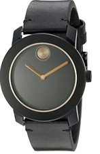 Movado Bold 3600297 Black Dial Black Leather Band Men's Watch