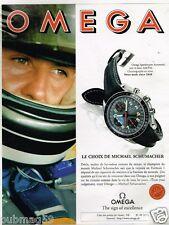 Publicité advertising 1996 La montre Omega avec michael Schumacher