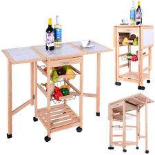 Wood Kitchen Trolley Cart Worktop Dining Storage Drawers W/Folding Side Boards