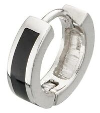 Elements 4mm 925 Sterling Silver & Black Onyx Huggie Hoop Earring [single]