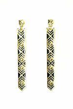 LADIES AZTEC BLACK / GOLD EARRINGS LONG STRIPED UNQIUE BRAND NEW (CL10)
