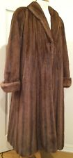 Bob Mackie Designer Elegant Long Coat Winter Mink Fur Brown L-XL Gorgeous!