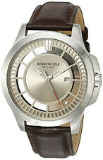 Kenneth Cole Men's 'Transparency'  Silver Tone Leather Strap Watch 10027444