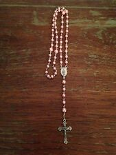 Vintage Catholic Rosary Beads, Rose Pink Pearl Beads, Handmade