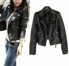 Stylish Womens Synthetic Leather Jacket Short Slim Coat Black Color Size XXL New