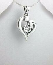 Valentine Gift for Mom Mother Father 2 Children Family Pendant Necklace Silver