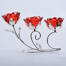 LONGWIN Crystal Flower 3 Arms Candle Holder Glass Candlestick
