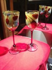 Paul Allen Counts Art Glass Long Stem Wine Glass Goblet Set of 2 Signed 1983