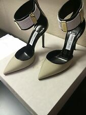 NIB JIMMY CHOO CANVAS BRAIDED IN NATURAL/WHITE/BLACK TRIM TANCHY PUMPS- SIZE 37
