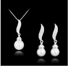 Silver Plated Rhinestone Drop Pearl Bridal Necklace and Earrings Set