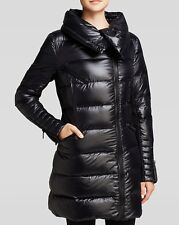 NEW BCBG BLACK ASYMMETRIC ENVELOPE COLLAR QUILTED DOWN PUFFER COAT SZ M MEDIUM
