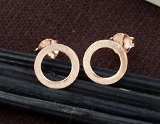 925 Sterling Silver Rose Gold Vermeil Style Brushed Circle Stud Earrings.