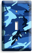 BLUE NAVY MILITARY CAMO CAMOUFLAGE SINGLE LIGHT SWITCH WALL PLATE MAN CAVE DECO