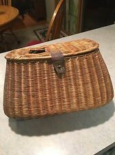 Antique Wicker Fishing Basket Creel with Original (broken) leather strap buckle