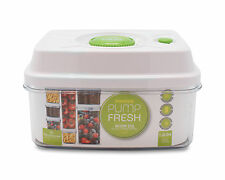 Pioneer Pump Fresh Vacuum Food Storage Container Box Jar, White/Green, 1.6 Litre