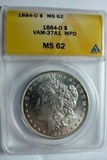 1884 O MORGAN DOLLAR VAM 37A1 18 in Denticles, Far Date, Die Break U
