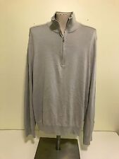Banana Republic Mens Quarter Zip Silk Cotton Cashmere Sweater L Large - Grey