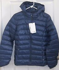 NEW $325 Lacoste Women Hoodie Quilted Down Puffer Jacket T40 Size 8 Navy Blue