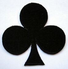 BLACK CLUB POKER PLAYING CARD Embroidered Iron on Patch + Free Shipping