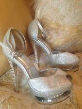 "ALL STAR SILVER GLITTER  6"" High HEEL 2"" PLATFORM  sexy prom shoes Size 6"