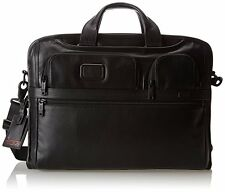 Tumi Alpha 2 Compact Large Screen Laptop Leather Brief, Black, One Size 96114D2