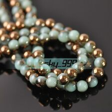 72pcs 6mm Round Crystal Glass Loose Spacer Beads Jade Green & Bronze