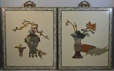 Vintage Chinese Lacquered Wood and Hardstone Wall Panels