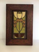 Motawi Bell Flower Art Tile in a Family Woodworks Oak Park Arts & Crafts Frame