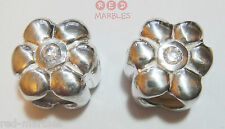 925 Sterling Silver Flower Spacer Charm Beads. Source. Set Of 2. Cubic Zirconias