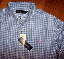 NWT Ralph Lauren $89.50 Classic Blue/White Gingham Dress Shirt Men's L PINK PONY